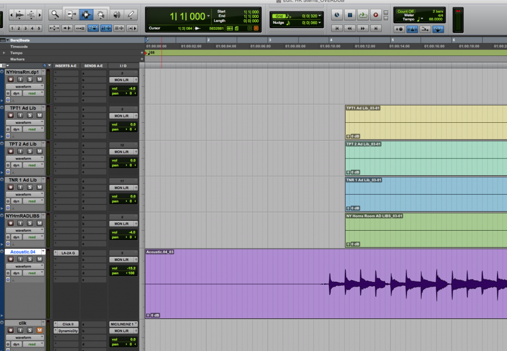 "Note that the ""acoustic"" track here (purple) extends all the way to the very beginning of the session, at bar 1, beat 1. This file, when exported, can be seamlessly imported into my collaborator's session. The four horn tracks above it, however, do NOT extend all the way to the beginning of the session, so if I export them as-is, my collaborator would have a frustrating time trying to make everything line up."