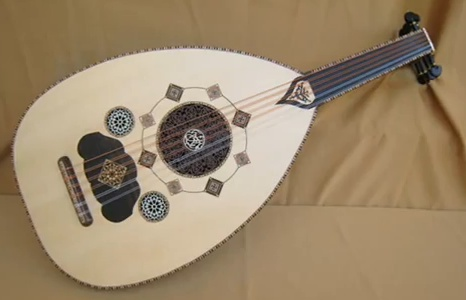 The ornate patterns on an Arabic oud.