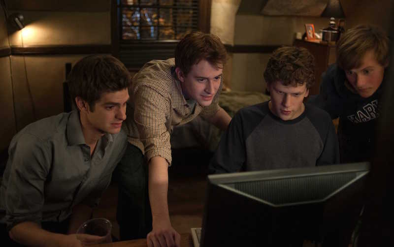 mark zukerberg, facebook, the social network, social media, movie, 2010, men on a computer