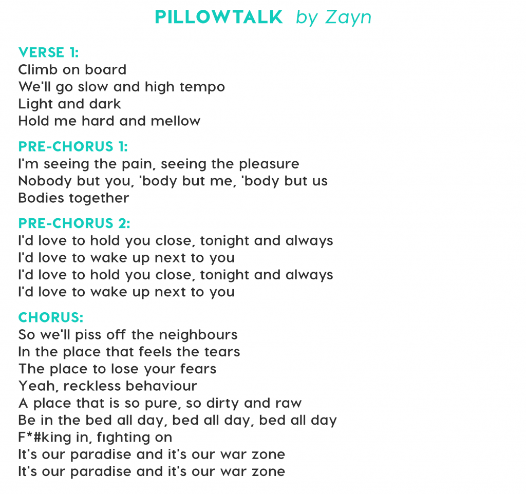 pillowtalk by zayn lyrics