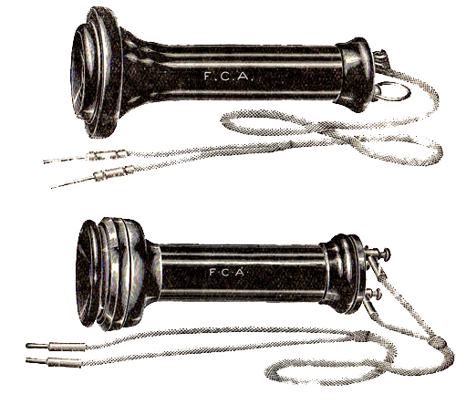 Early Bell single and double pole production receivers, circa 1880s.