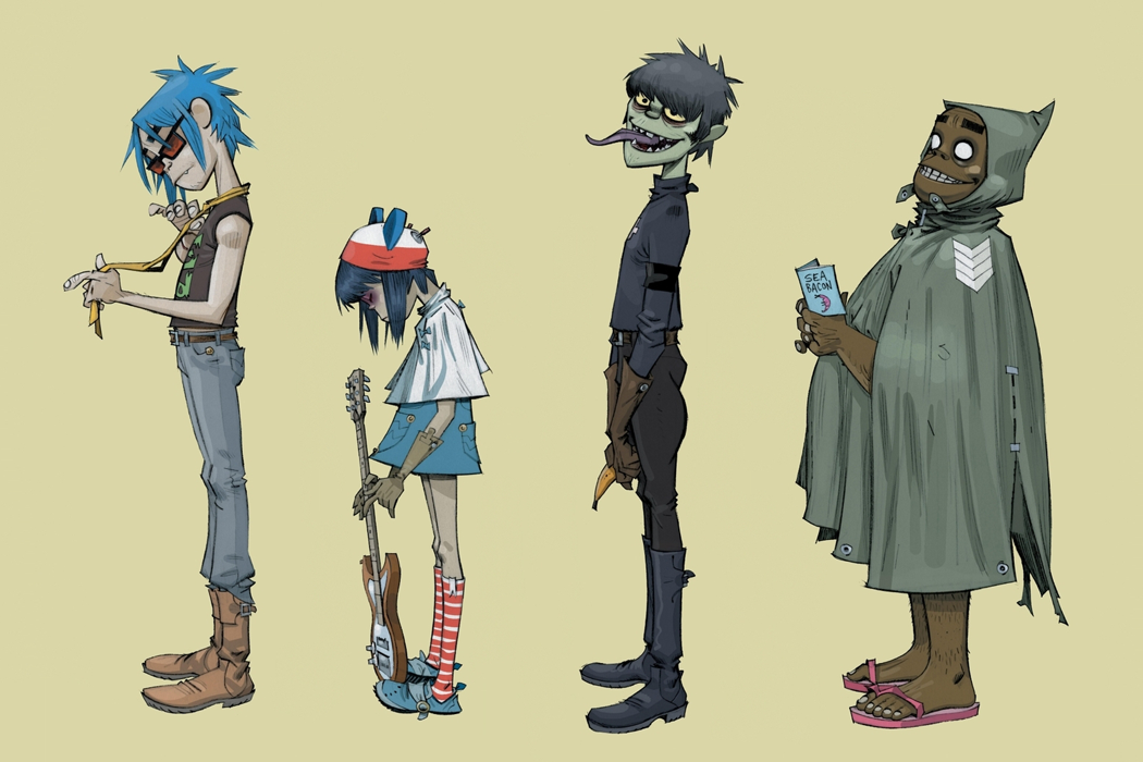 The virtual members of the Gorillaz: (from L to R) 2D, Noodle, Murdoc Niccals and Russel Hobbs.