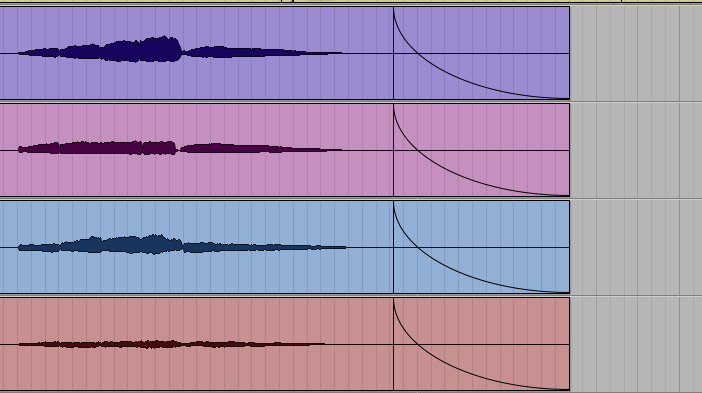 """Be careful with applying fade-outs to tracks you've recorded. When in doubt, let the mix engineer handle the tops and tails. If you do choose to do this as I've done here, err on the side of longer, later fades—once exported, your collaborator could always """"chase"""" your fade with a shorter or earlier one, but they'd be unable to go the other direction. Always leave as much information as possible, within reason."""