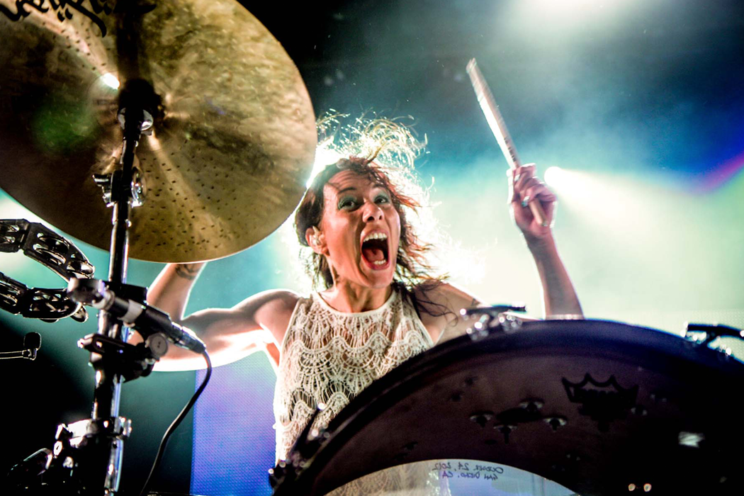 Kim Schifino of Matt and Kim, live photo by Christine Redmond.