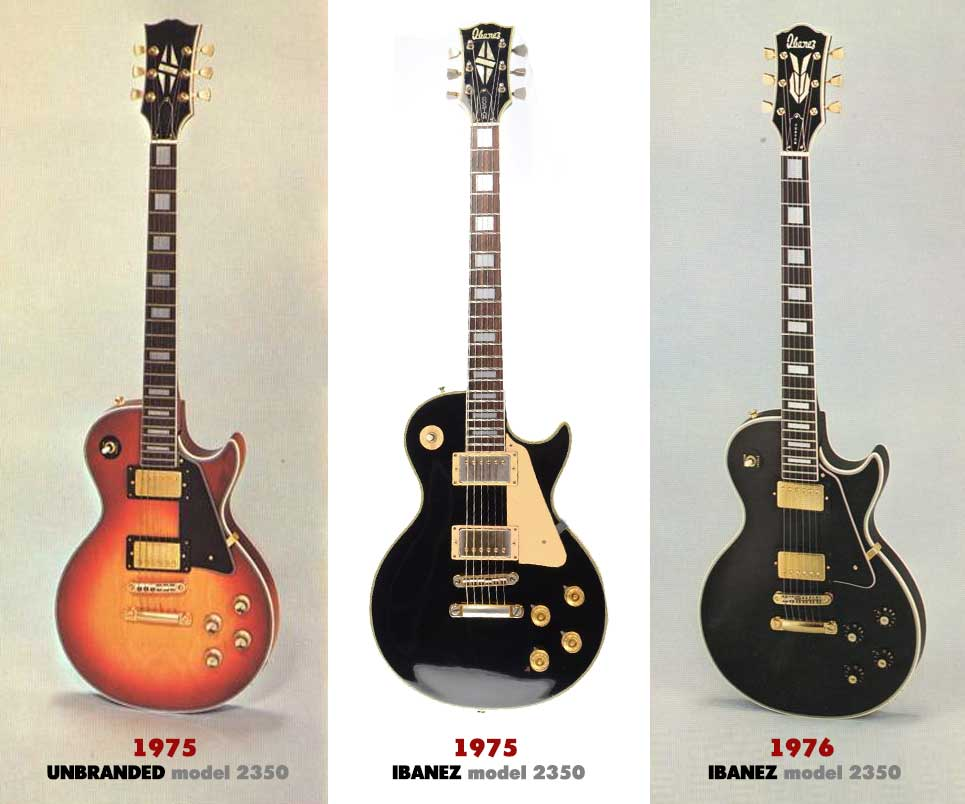Here you can see catalog images of the Ibanez model 2350. The left image features non-branded headstock, the center image boldly displays the Ibanez brand on the head, and on the right (post-lawsuit), it is an entirely new design with a new head-japanese-lawsuit-guitars