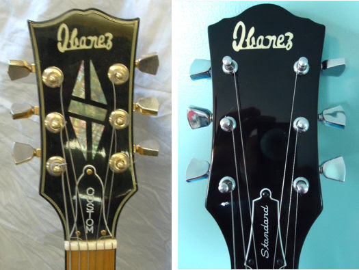 An image of pre-lawsuit Ibanez (left) and post-lawsuit Ibanez. Notice the 'open book' Gibson ripoff, vs the second design.-japanese-lawsuit-guitars