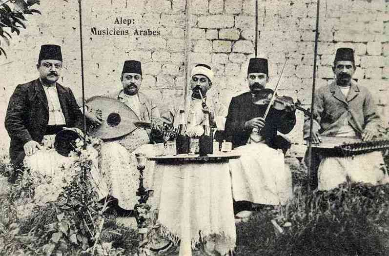 A traditional music ensemble in Aleppo, 1915.